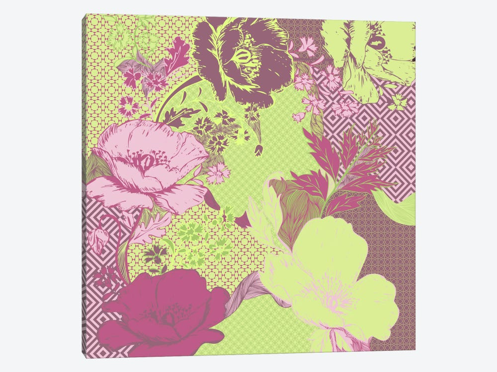 Floral Pattern (Yellow&Pink) by 5by5collective 1-piece Canvas Art Print