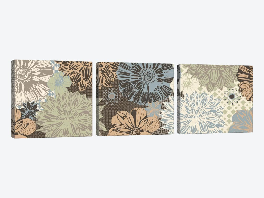 Floral Pattern (Dark Colors) by 5by5collective 3-piece Canvas Print