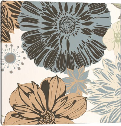Flowers (Gray&Brown&White) Canvas Art Print