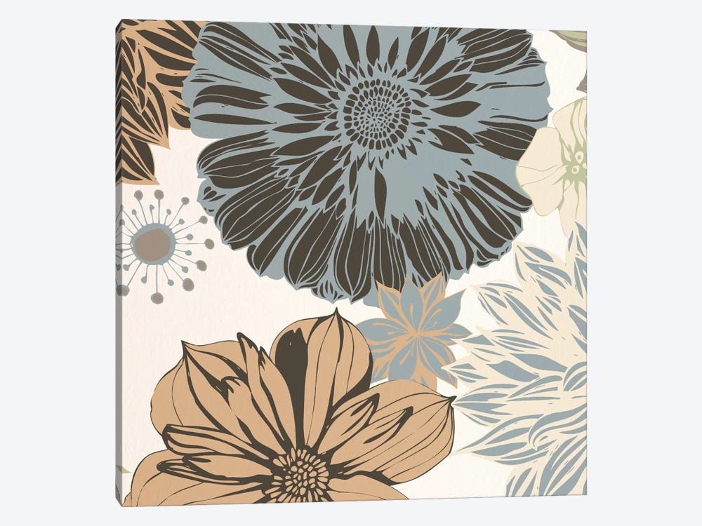 Flowers (Gray&Brown&White) by 5by5collective 1-piece Canvas Art Print