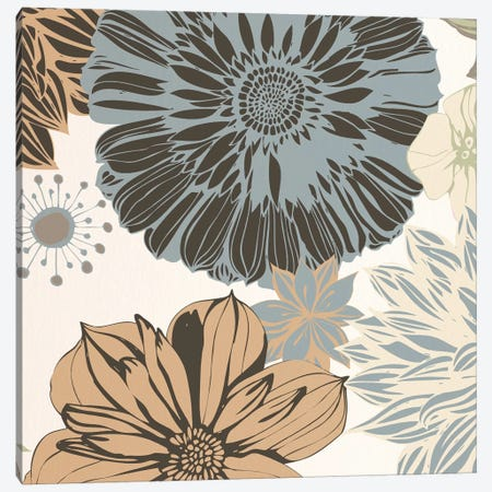 Flowers (Gray&Brown&White) Canvas Print #FLPN139} by 5by5collective Canvas Art Print