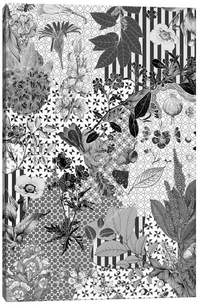 Flower Pattern (Black&White) Canvas Print #FLPN13