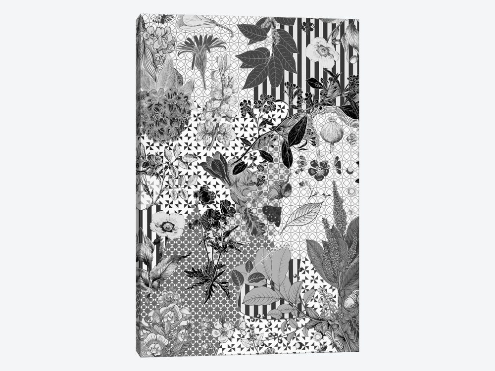 Flower Pattern (Black&White) by 5by5collective 1-piece Canvas Art Print