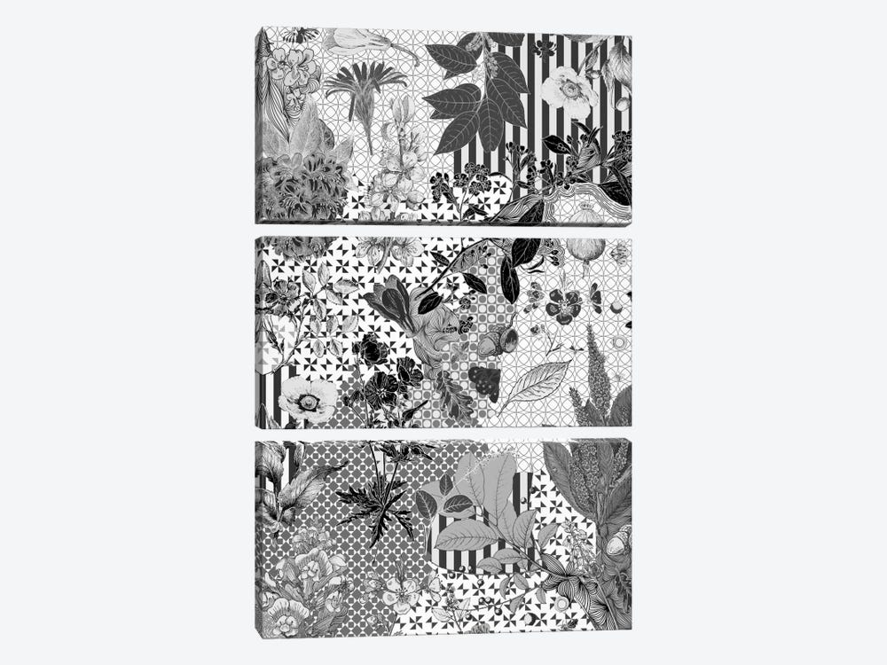 Flower Pattern (Black&White) by 5by5collective 3-piece Canvas Print