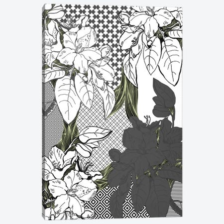 Floral Pattern (White&Black&Green) Canvas Print #FLPN141} by 5by5collective Canvas Artwork