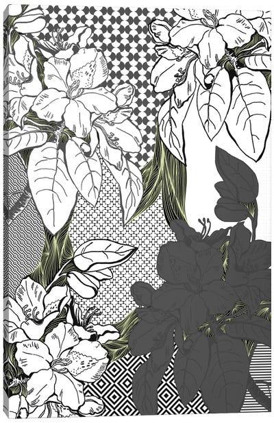 Floral Pattern (White&Black&Green) Canvas Print #FLPN141