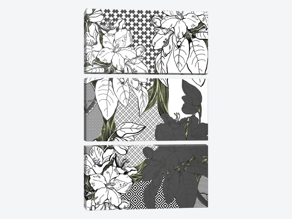 Floral Pattern (White&Black&Green) by 5by5collective 3-piece Canvas Artwork