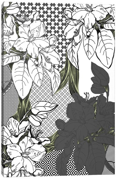 Floral Pattern (White&Black&Green) Canvas Art Print
