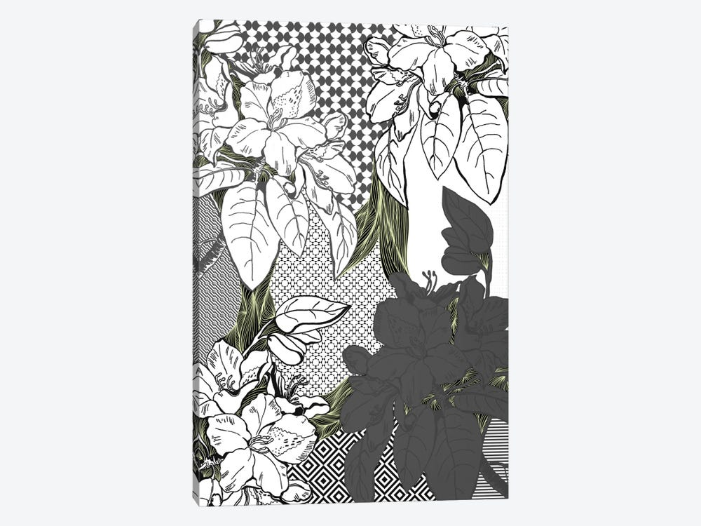 Floral Pattern (White&Black&Green) by 5by5collective 1-piece Canvas Wall Art