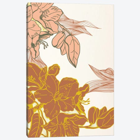 Flowers&Leaves (Orange) Canvas Print #FLPN143} by 5by5collective Canvas Wall Art