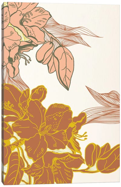 Flowers&Leaves (Orange) Canvas Print #FLPN143