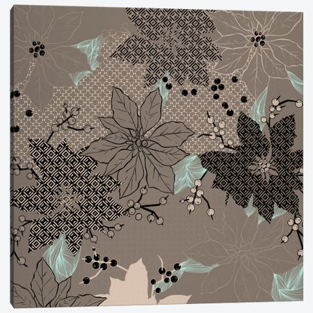 Floral Pattern (Black&Brown) Canvas Print #FLPN145} by 5by5collective Art Print