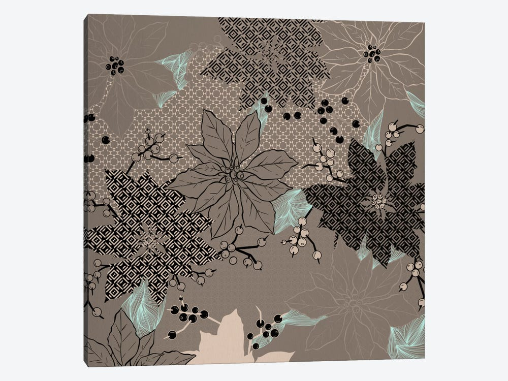 Floral Pattern (Black&Brown) by 5by5collective 1-piece Canvas Wall Art