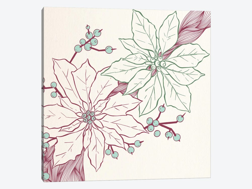 Flowers&Berries (Vinoues&Green) by 5by5collective 1-piece Canvas Print