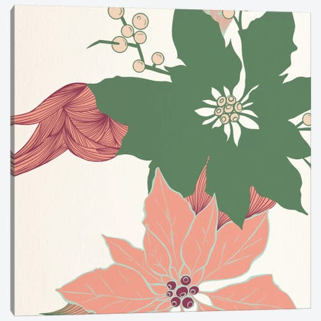 Green&Red Flowers Canvas Print #FLPN147} by 5by5collective Canvas Print