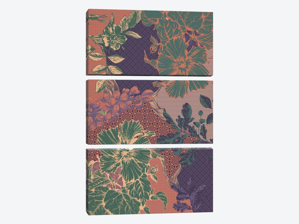 Flowers&Ornaments (Multi-Color) by 5by5collective 3-piece Canvas Art