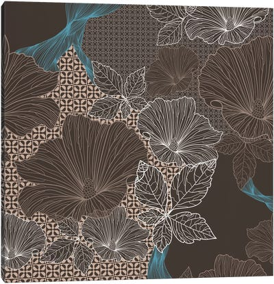 Floral Patterns (Brown&Black) Canvas Art Print