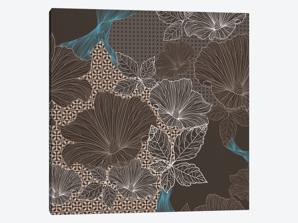 Floral Patterns (Brown&Black) by 5by5collective 1-piece Canvas Print