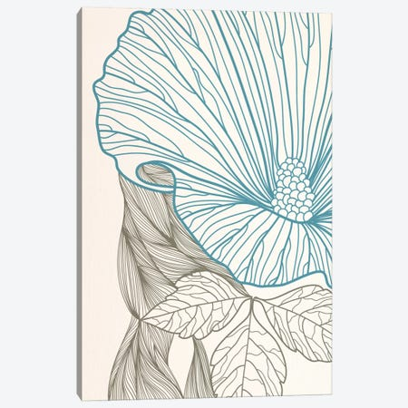 Flower&Leaves (Blue&Brown) Canvas Print #FLPN154} by 5by5collective Canvas Artwork
