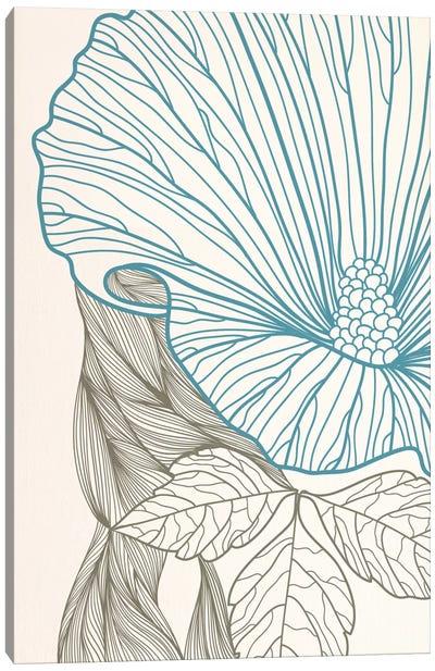 Flower&Leaves (Blue&Brown) Canvas Print #FLPN154