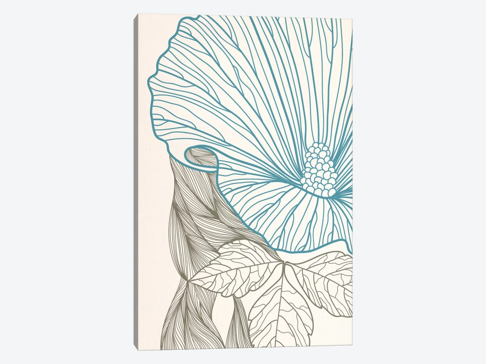 Flower&Leaves (Blue&Brown) by 5by5collective 1-piece Canvas Art
