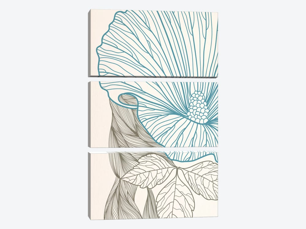 Flower&Leaves (Blue&Brown) by 5by5collective 3-piece Canvas Wall Art