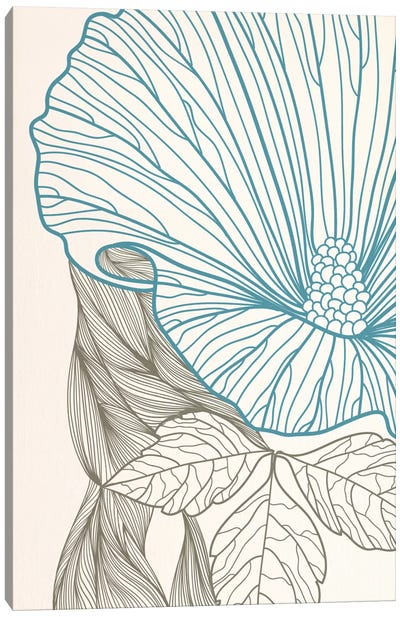 Flower&Leaves (Blue&Brown) Canvas Art Print