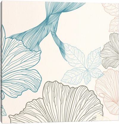 Flowers&Leaves (Blue&Brown) Canvas Art Print