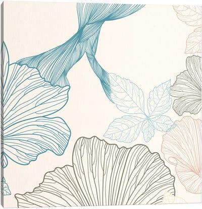 Flowers&Leaves (Blue&Brown) Canvas Print #FLPN155