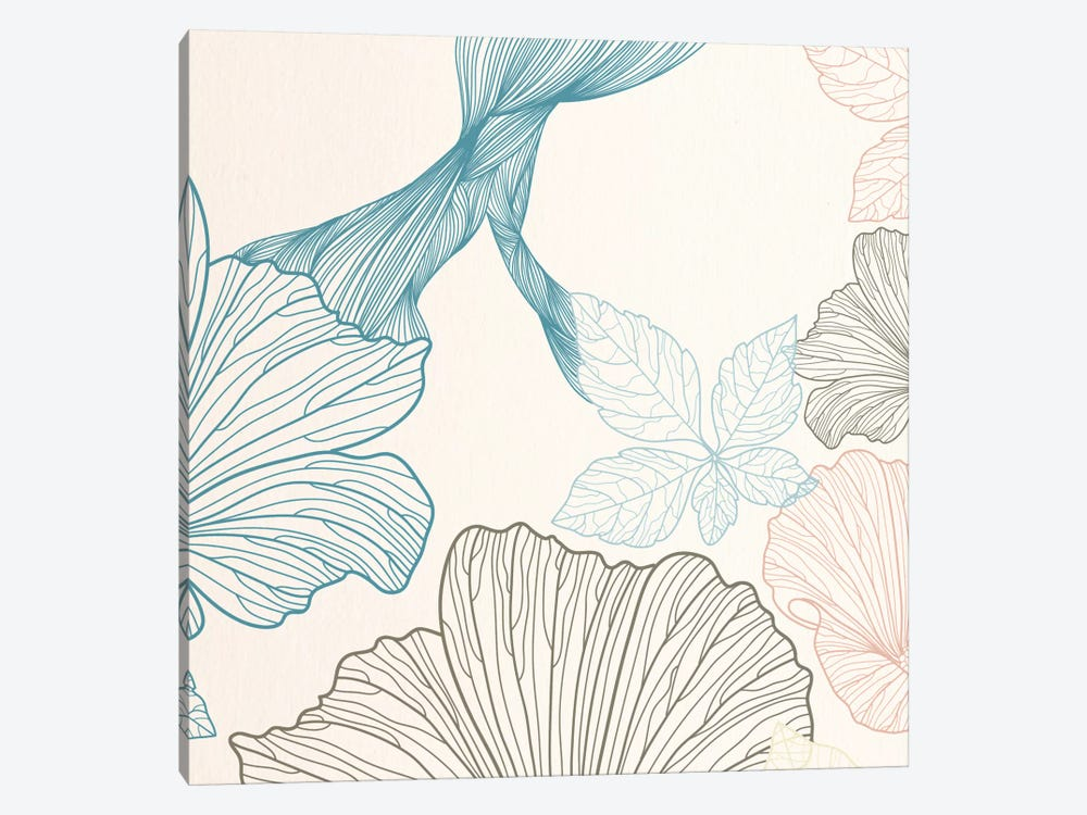 Flowers&Leaves (Blue&Brown) by 5by5collective 1-piece Canvas Art Print