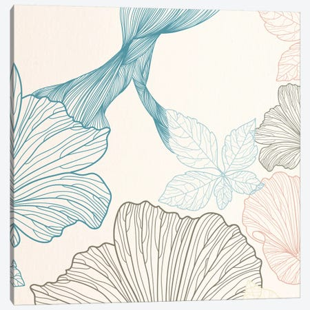 Flowers&Leaves (Blue&Brown) Canvas Print #FLPN155} by 5by5collective Canvas Artwork