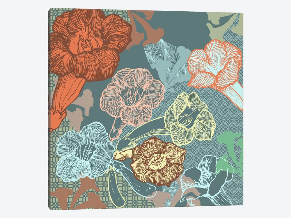 Patterns&Flowers (Multi-Color) by 5by5collective 1-piece Canvas Art Print