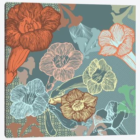 Patterns&Flowers (Multi-Color) Canvas Print #FLPN157} by 5by5collective Canvas Wall Art