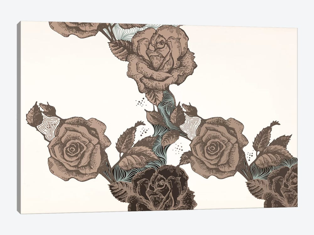 Roses & Leaves (Brown) by 5by5collective 1-piece Art Print