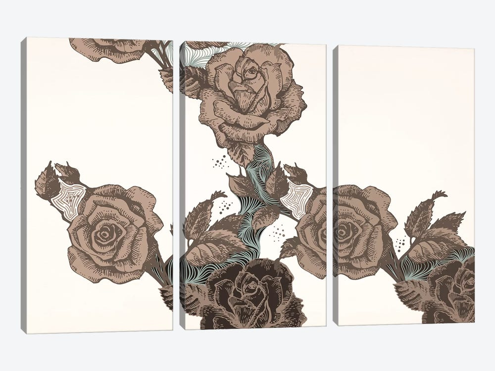 Roses & Leaves (Brown) by 5by5collective 3-piece Canvas Print