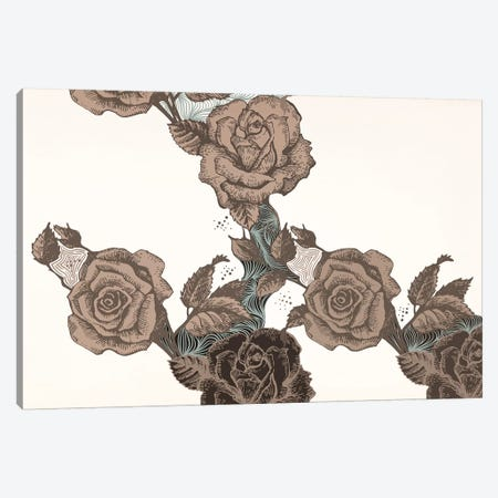 Roses & Leaves (Brown) Canvas Print #FLPN19} by 5by5collective Canvas Art Print