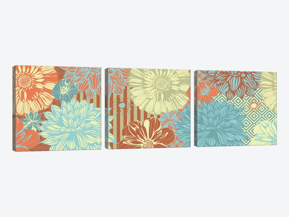 Flower Pattern (Tri-Color) by 5by5collective 3-piece Canvas Artwork