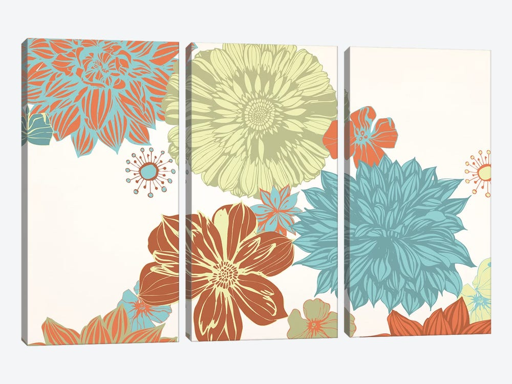 Flowers (Tri-Color) by 5by5collective 3-piece Canvas Art