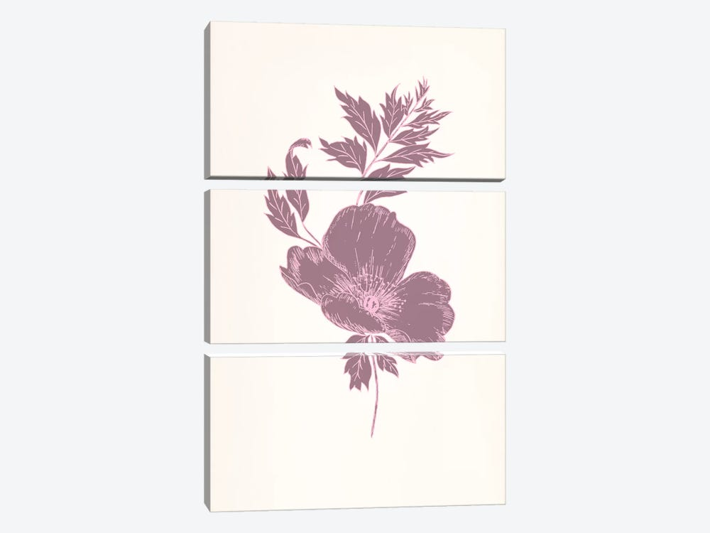 Violet & Leaves (Vinious) by 5by5collective 3-piece Canvas Print