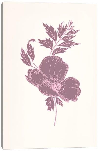 Violet & Leaves (Vinious) Canvas Art Print