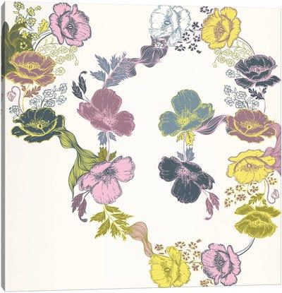 Violets & Leaves (Multi-Color) Canvas Art Print
