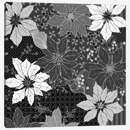 Flowers & Ornaments (White&Black) Canvas Print #FLPN29} by 5by5collective Canvas Artwork