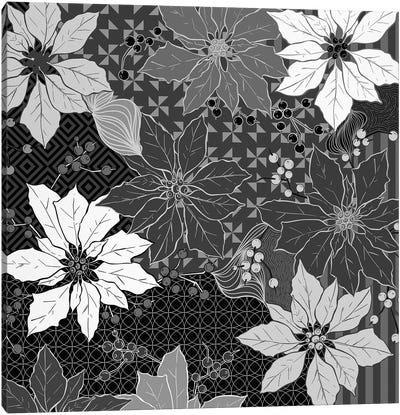 Flowers & Ornaments (White&Black) Canvas Print #FLPN29
