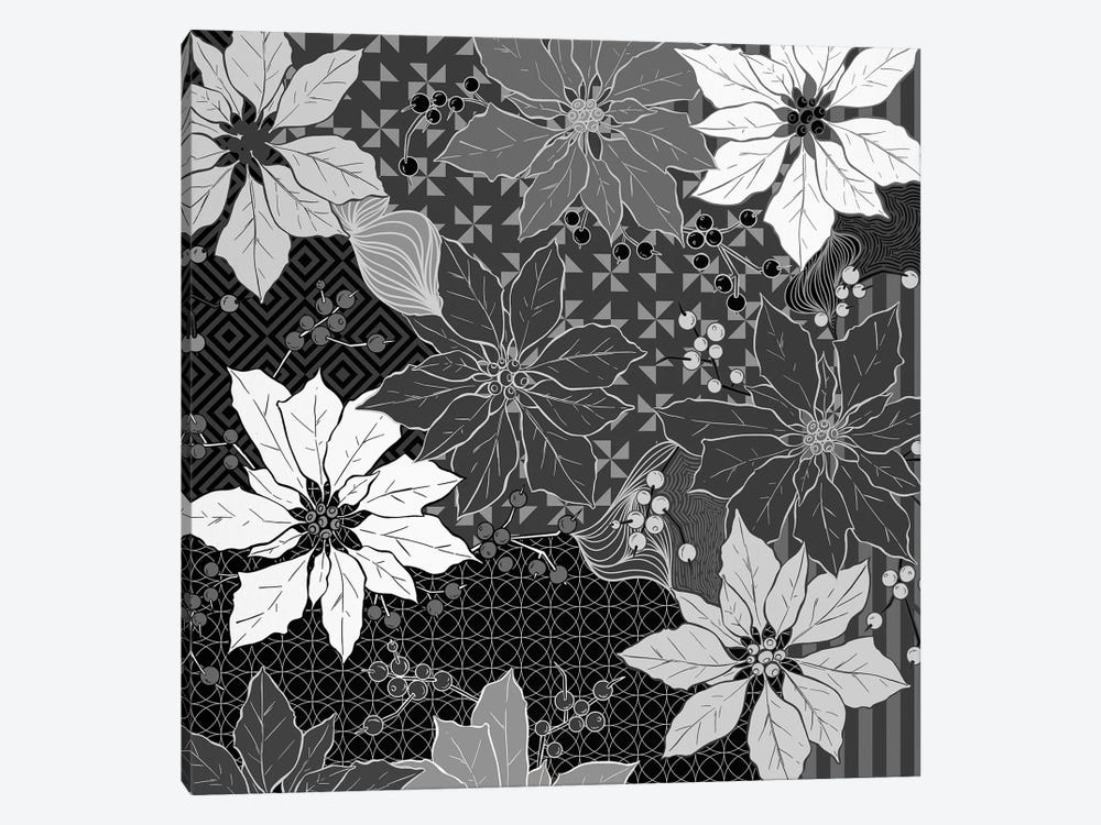 Flowers & Ornaments (White&Black) by 5by5collective 1-piece Canvas Art