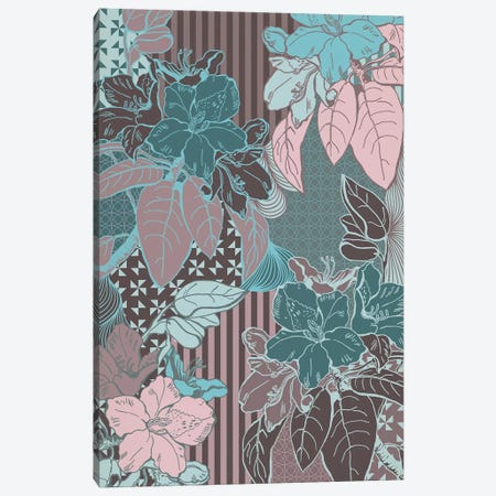 Flowers & Patterns (Vinous&Green) Canvas Print #FLPN33} by 5by5collective Art Print