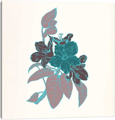 Flowers & Leaves (Vinous&Green) I Canvas Art Print