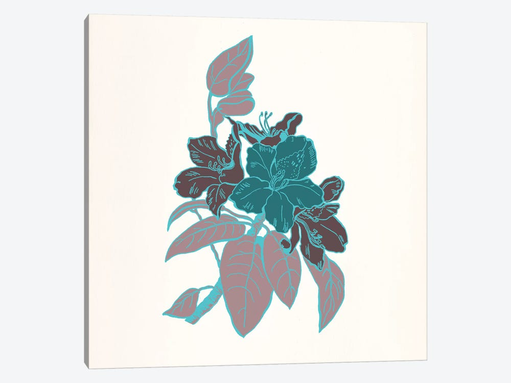Flowers & Leaves (Vinous&Green) I by 5by5collective 1-piece Canvas Artwork