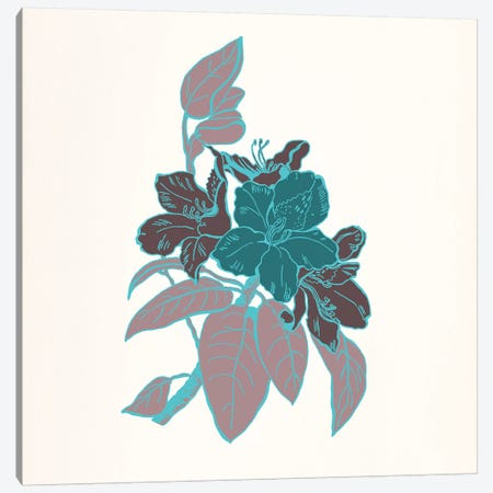 Flowers & Leaves (Vinous&Green) I Canvas Print #FLPN34} by 5by5collective Canvas Artwork