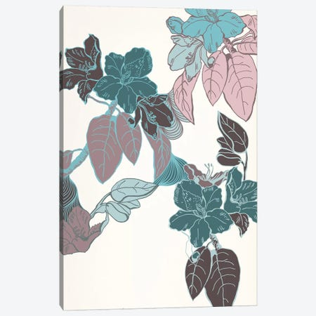 Flowers & Leaves (Vinous&Green) II Canvas Print #FLPN35} by 5by5collective Canvas Artwork