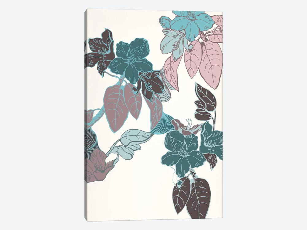 Flowers & Leaves (Vinous&Green) II by 5by5collective 1-piece Canvas Art Print